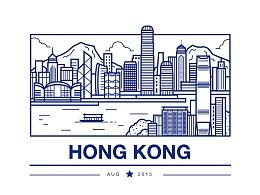 香港 扁平极简线描插画