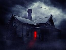 恐怖场景合成,鬼屋效果,海报合成,鬼屋设计