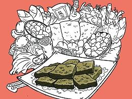 商业插画-《长沙小食》系列部分线稿图