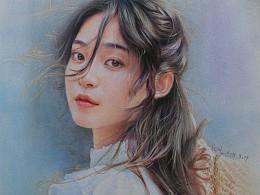 彩铅色粉手绘《青丝舞》