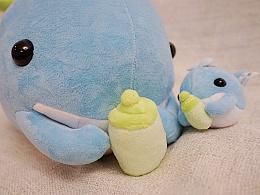 """我设计的绒毛玩偶""""奶瓶鲸鱼"""""""