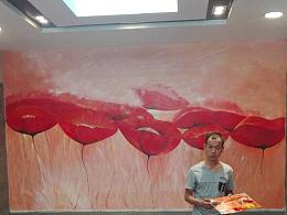 南京江北理发店墙绘油画壁画艺术 商铺手绘墙上门画画设计