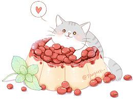 椰汁红豆糕与薄饼鱼子酱