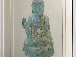 彩铅作品:青铜佛像