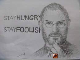 手绘+乔布斯——steve jobs——stay hungry stay foolish