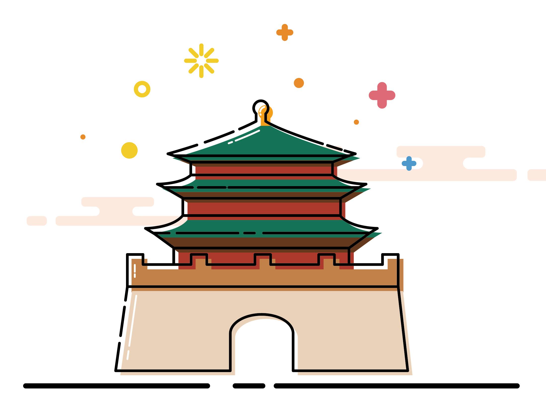 西安风景矢量图