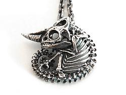 骸首饰原创杰克森变色龙骨骼避役骨架 吊坠男 项链手工925纯银