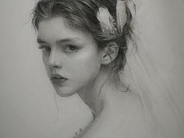 素描教程:披头纱的少女