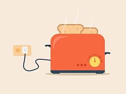看完电视就烤点儿面包吃