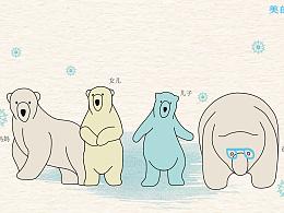 可爱的一家四口表情包,北极熊