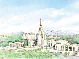 建筑群.手绘地图景区旅游水彩插画设计定制