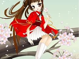 樱花树上的女孩