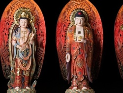 【铜师傅-作品】 西方三圣(全铜彩绘)