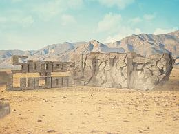 实景合成-沙漠文字倒塌