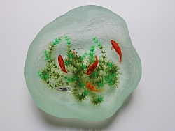 透明琥珀锦鲤石