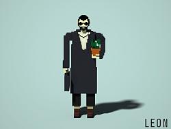 像素风格人物插画《杀手Léon》