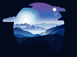 landscape illustration-渐变风格风景矢量插画