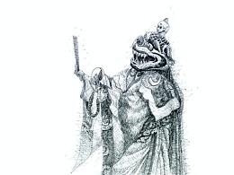 石思庆钢笔画《羌姆之怒神护法》