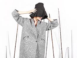 花树果女装原创设计2016秋冬新款灰色圆点羊毛呢外套