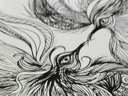 凤求凰的草图~以前上班开会时的涂鸦,重新画一下,等有时间转大图精细上稿