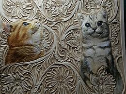 两只猫咪的肖像制作过程