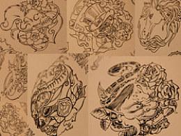 前年画的收录在英国出版的《纹身图案集锦》