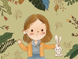 小女孩和兔兔
