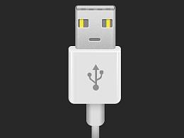 USB接口 拟物图标 临摹