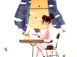 朵悠悠-蜂蜜包装插画