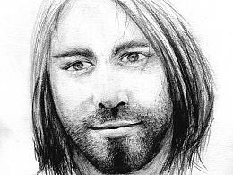 手绘Kurt Cobain科特柯本素描