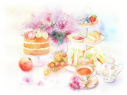 水彩画《梦中的下午茶》绘画过程欣赏