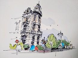 钢笔淡彩建筑风景速写