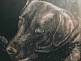 手工雕刻黑白木刻版画【狗狗】