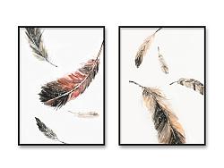 装饰画-羽毛·鹿·向日葵