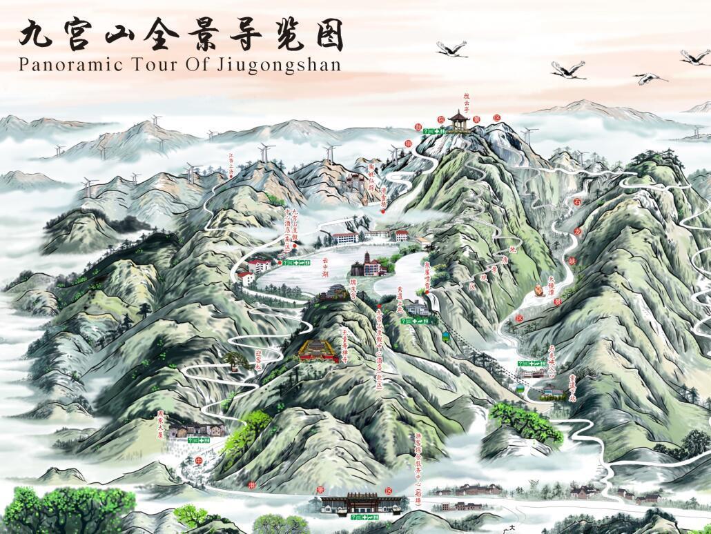 九宫山旅游手绘地图——准5a景区三维立体绘制,景区旅游手绘地图定制