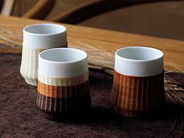 瓷胎竹编|竹节杯