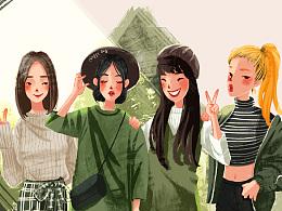 女神节快乐~闺蜜装的插画向练习~