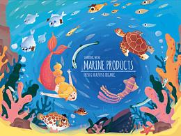 威海海产品伴手礼包装插画