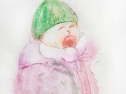 宣纸设色,儿童插画