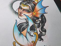 美人鱼纹身手稿