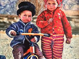 油画作品~Tajik姐弟