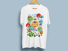 北京天坛地图创意T恤