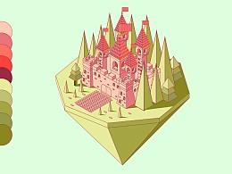 2.5D城堡插画