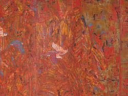漆画屏风《蕉林闲禽图》