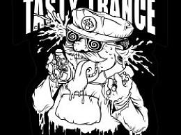 新近音乐厂牌TASTYTRANCE联合演出的贴纸设计