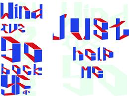 26英文字母 字体设计 空间字体 红蓝白配色