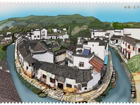 安徽泾县手绘明信片