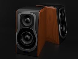 C4D练习-木质音箱