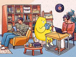 自如5.0自如客服微博背景插画 客厅与室友
