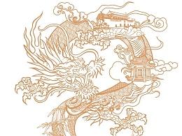 现代中国风 禅意水墨线描中国画CG插画,标志手绘PS画设计in站酷zcool